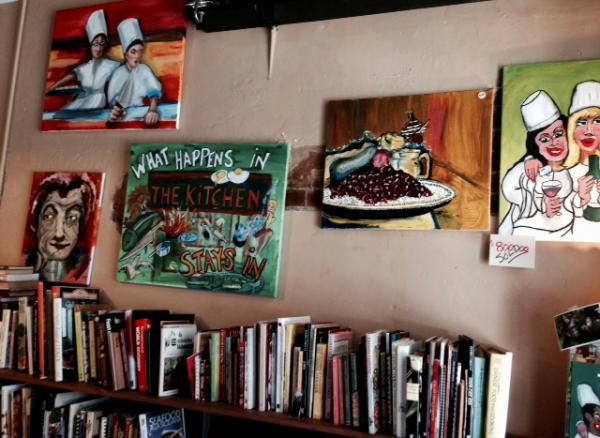 Wedding Kitchen Witch art with books
