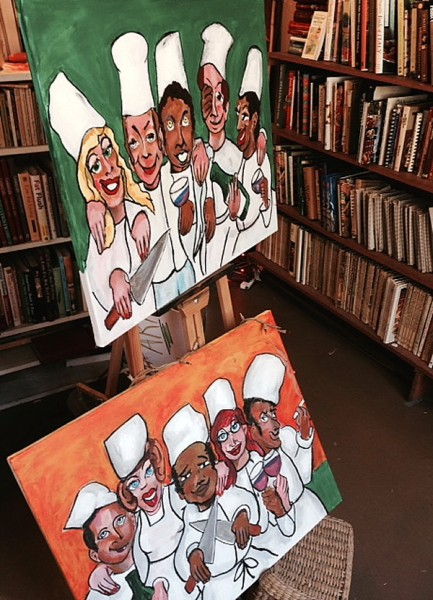 Wedding Kitchen Witch chef paintings by books