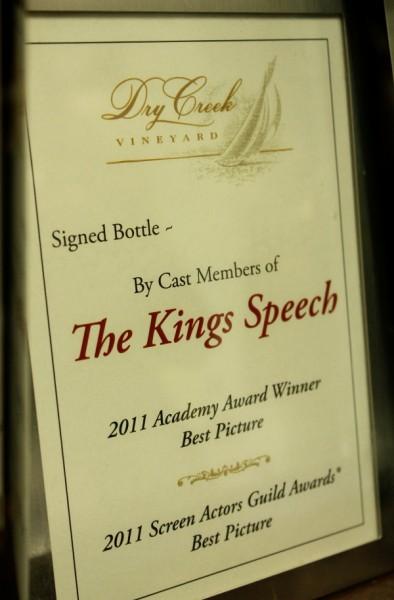 Dry Creek signed bottle Kings Speech