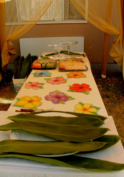 Tonga getting buffet table ready