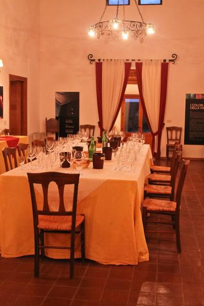 Butera Wine Tasting table filled