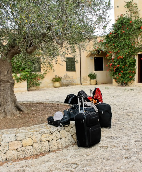 Butera leaving suitcases by trees