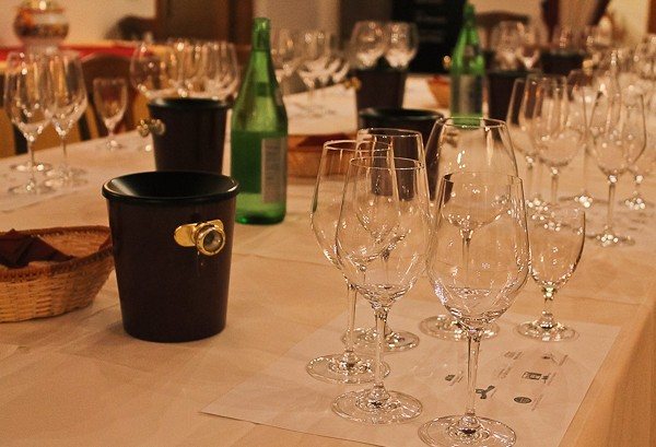 Butera tasting table filled