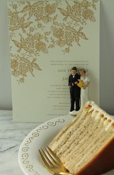 Wedding invite and cake