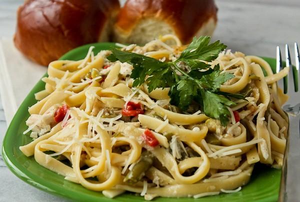 Leftover Turkey pasta on plate