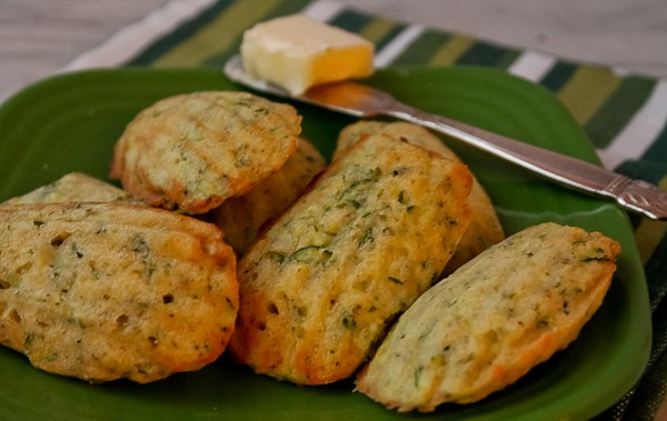 Zucchini Madeleine baked on plate