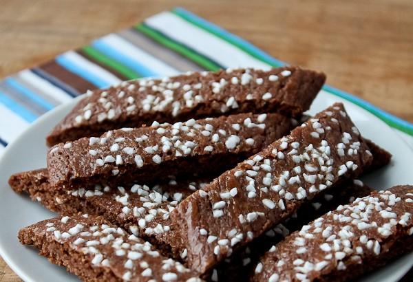 Chocolate Slice cookies on plate