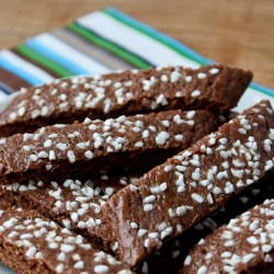 Chocolate Slice cookies on plate