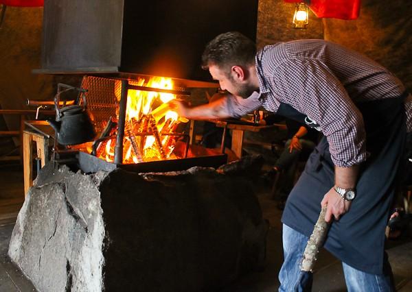 Sami tent salmon fire