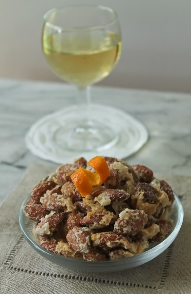 Sugared nuts with sherry glass