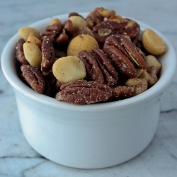 Pecan mix in white container
