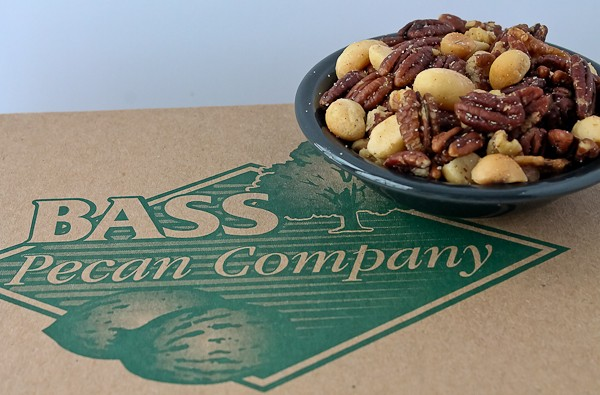 Pecan mix on top of box
