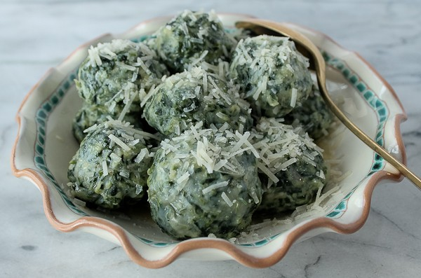 Sphere spinach gnocchi in bowl 1