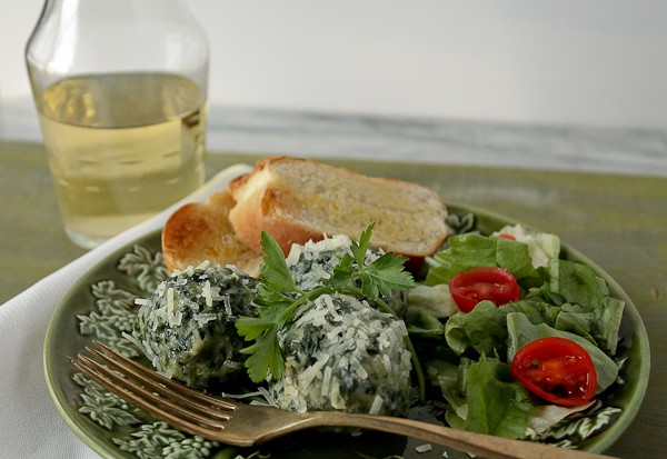 Sphere spinach gnocchi small dinner plate