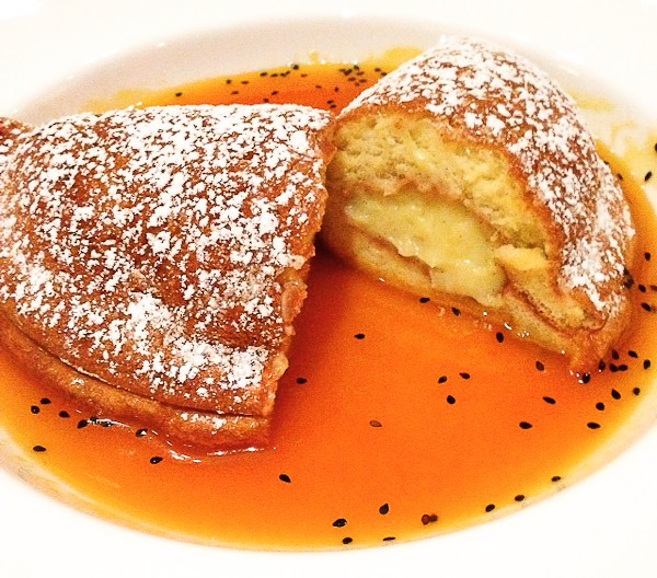 Crepe Souffle cut with sauce