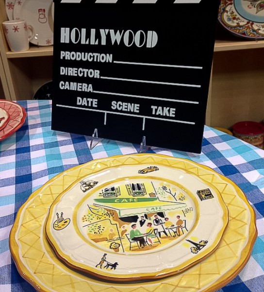 TCM yellow plate with Hollywood clapboard