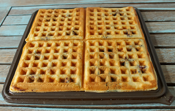 First make the rich buttermilk waffles, which have blueberries ...
