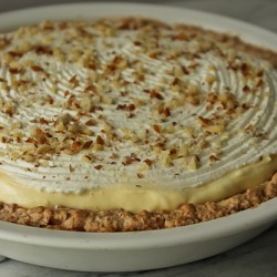 Almond pie side view