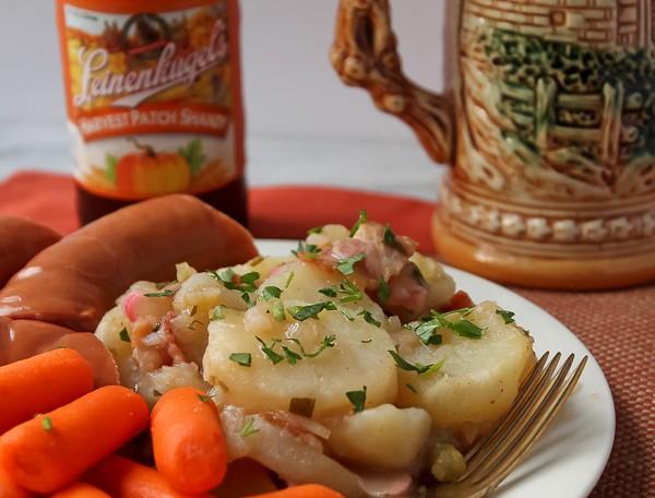 Oktoberfest hot german potato salad the culinary cellar hot german salad close up 2 with beverages forumfinder Choice Image
