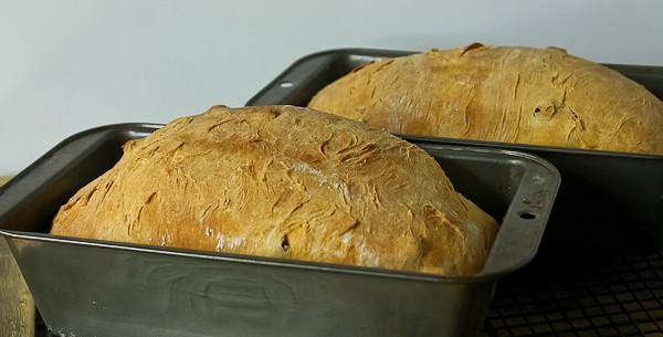 Pumpkin yeast bread in bread pans