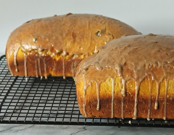 Pumpkin yeast bread whole with drips 2