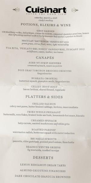 Cuisinart menu