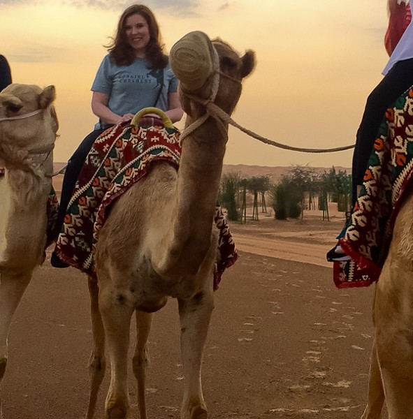 Kristina on Dubai camel
