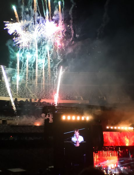 MetLife Stadium with fireworks