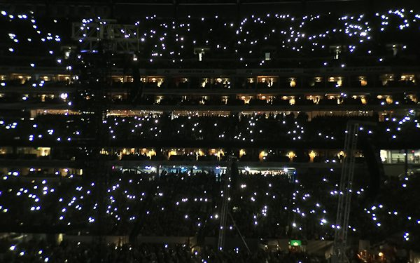 MetLife Stadium with flashlights