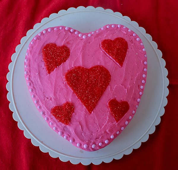 Chocolate Heart Cake for Valentine\'s Day - The Culinary Cellar