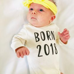 Helen born 2018 shirt and yellow ribbon