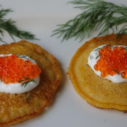 Cornmeal Blini with Smoked Trout Roe 6